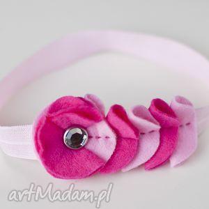 handmade dla dziecka opaska niemowlęca - cyrkonia z falbanką