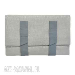 kopertówki 10-0001 szara torebka kopertówka xxl do ręki lark, modne, torebki, damskie