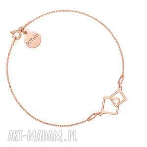 sotho bransoletka z dwoma kwadratami z różowego złota - różowe złoto