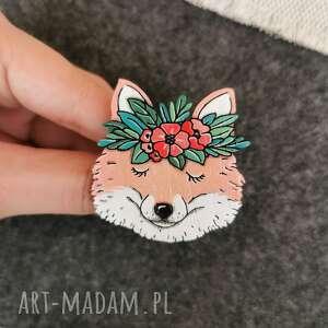 wyjątkowy prezent, broszka lis, ręcznie malowana, pin, broszka, drewno