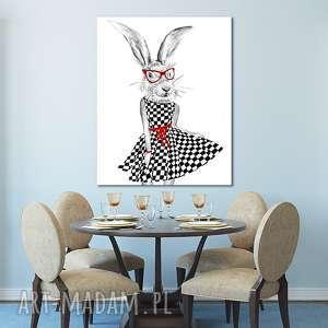 Obraz na płótnie - 80x100cm PANI ZAJĄCwysyłka w 24h 02178, zając, kobieta, sukienka