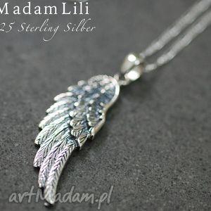 pomysł na upominki święta 925 srebrny łańcuszek SKRZYDŁO ANIOŁA , anioł, skrzydło