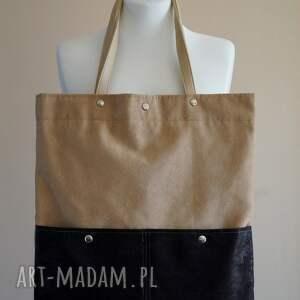 torebki beżowa torba z kieszeniami, torba, ekozamsz, kropki, wiosna, prezent