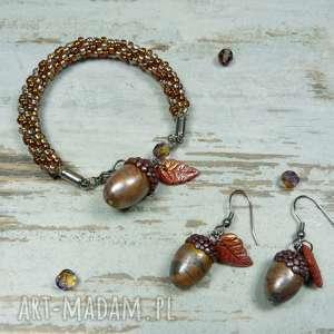 komplet biżuterii jesień, liście, biżuteria-na-prezent, liście-dębu