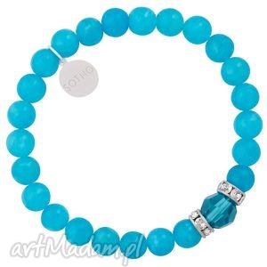 sotho niebieska bransoletka marmur błękitny szklisty, kryształy