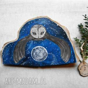 hand made dekoracje sowa malowana na klinie drewna