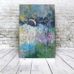 paulina lebida abstrakcyjna łąka-obraz akrylowy formatu 40/60 cm, łąka, płótno