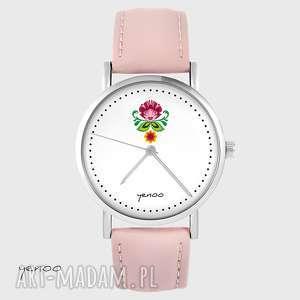 zegarek - folkowy kwiat skórzany, pudrowy róż, zegarek, bransoletka