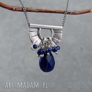 tiny pendant and lapis lazuli drop - drobny, krótki, przy szyi, półkole