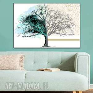 obrazy nowoczesne do salonu drzewo dnia i nocy 120x80, obraz mnimalistyczny na ścianę