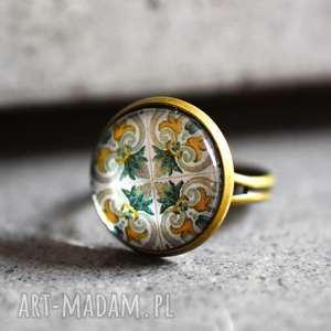 azulejos ii brązowy pierścionek, portugalskie, płytki, prezent