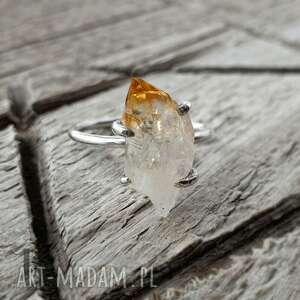lemon - srebrny pierścionek z cytrynem, srebrny, kwarc
