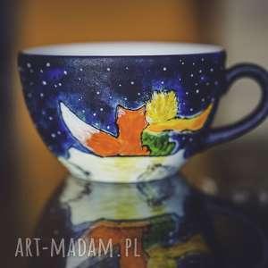hand-made kubki filiżanka do kawy z podstawkiem mały książę i róża, prezent dla