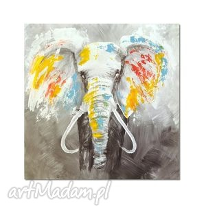 Słoń, nowoczesny obraz ręcznie malowany, obraz, nowoczesny, słoń, nowoczesne, wnętrze