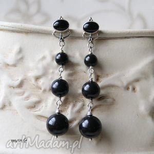 Czarna rosa, kolczyki - ,czarne,kolczyki,perły,swarovski,