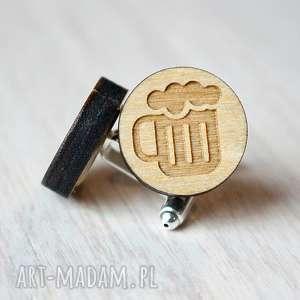 spinki do mankietów drewniane piwo, spinki, drewniane, piwo
