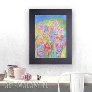 Kolorowy rysunek z łąką, kwiatami, szkic kwiatów, łąki, łąka obraz