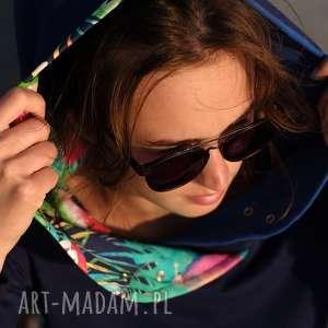 mimi monster bluza damska papugi, z kapturem, dresowa