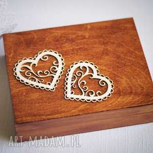 Pudełko na obrączki - dwa serca II, drewno, koronka, pudełko, obrączki, rustykalne