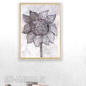 oprawiona grafika czarno-biała, nowoczesny rysunek, obraz