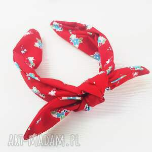opaski opaska czerwona bandamka jak chustka na bazie drobne kwiatuszki, chusta