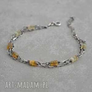 grey line project etiopski opal welo delikatna srebrna bransoletka 071