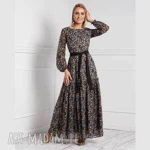 sukienki sukienka delia maxi brigitte, maxi, długa, rozkloszowana, kwiaty