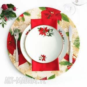 hand made pomysł na upominek świąteczny piękna podkładka świąteczna beżowo czerwona