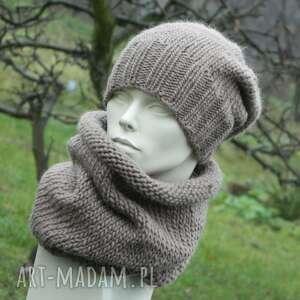 100 wool komplet czapka tuba zestaw zimowy czysta wełna jasny brąz