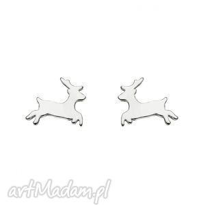srebrne kolczyki jelonki - blogerskie, sztyfty, modowe, srebro