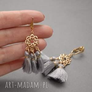 klipsy z małymi chwostami, sznurek, eleganckie, wiszące, wieczorowe, długie,