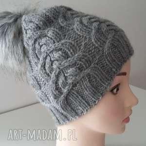 czapki czapka zimowa wykonana splotem warkoczowym, czapka, czapa, zima, druty