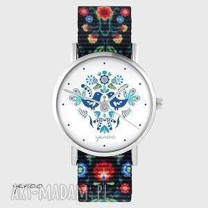 hand made zegarki zegarek - ptaszki folkowe, niebieskie folk czarny, nato
