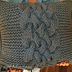 Poduszka splatana inaczej, poduszka, sznurekbawełniany, druty, szary, grey