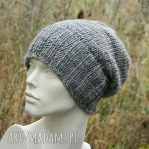 czapki szarość z beżem unisex czapka melanżowa wool alpaca