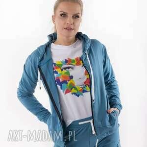 bluza brudny niebieski total stick, bluza, sukienka, spódnica, bluzka, spodnie