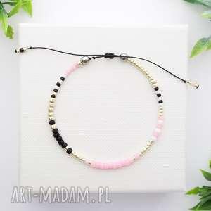 bransoletka koralikowa minimal hematite - pink and silver, bransoletki, modna
