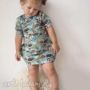 Sukienka ZOO dla dziewczynki, dzianina, bawełna, sukienka, zwierzaki, zoo, eko