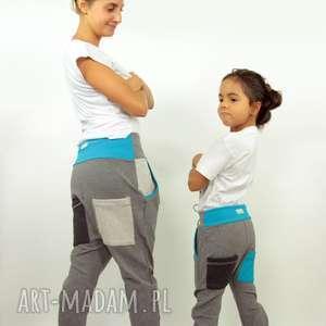 hand made spodnie spodnie duet mama i dziecko (szary turkus)