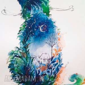 Akwarela KOTEK artystki plastyka Adriany Laube, akwarela, kot, kotek, księżyc, wąsy