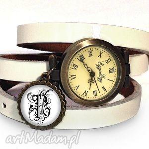 monogram na życzenie - zegarek bransoletka na skórzanym - biżuteria
