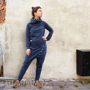 komplet damski - ala jeans, dres bawełniany, spodnie baggy, obniżony krok