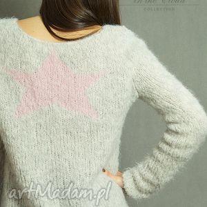Z różową gwiazdą, dziergany, gwiazda, alpaka, sweter, bluzka