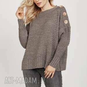 swetry sweter z guzikami - swe218 tabak mkm, do pracy, szkoły, sweter, luźny