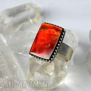 Prezent Pierścień z kamieniem szlachetnym ammolitem, ammolit, królewski, prezent