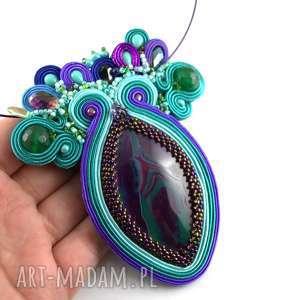 naszyjniki naszyjnik z agatem - sutasz, haft koralikowy, agat, beading