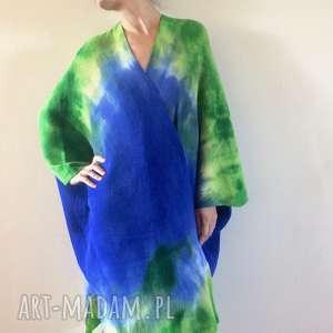 ręcznie robione płaszcze kardigan wełniany w formie kimona