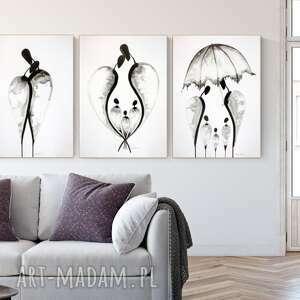 zestaw 3 grafik 50x70 cm wykonanych ręcznie, grafika czarno-biała, abstrakcja