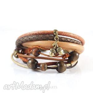 liliarts bransoletka - brązowa, żołędź rzemienie, skóra, drewno