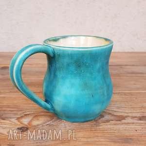 ręcznie wykonane ceramika kubek turkusowy